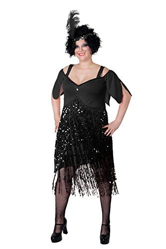 (Sunnywood Women's Lava Diva Plus Size Flapper, Black,)