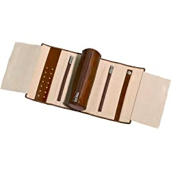 Tony Perotti Women's Italian Cow Leather Premium Combination Jewelry Roll with Tie Closure, Cognac