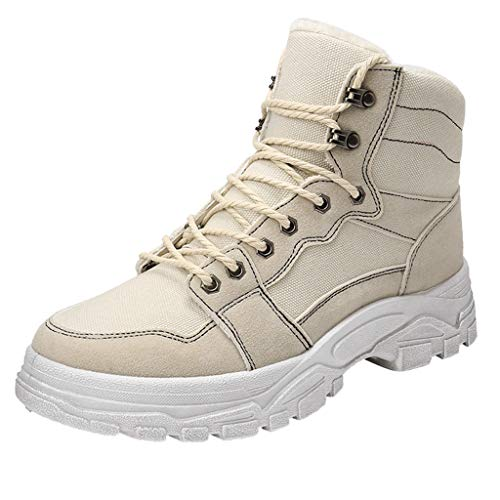 - Men Motorcycle Combat Ankle Boots Retro Round Toe Hiking Trekking Outdoor Boots (US:10.5, White)