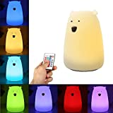 Night Light for Kids,GLIME Remote Control LED Bear Soft Silicone Baby Toddler Bedside Lamps for Bedrooms 16-Colors/Sensitive Tap/Adjustable Brightness/USB Rechargeable/Children Best Gifts Night Lamp