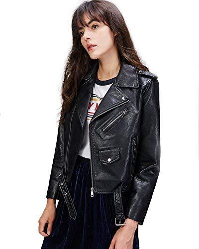 (LY VAREY LIN Women's Faux Leather Motorcycle Jacket PU Slim Short Biker Coat (XL, Black))