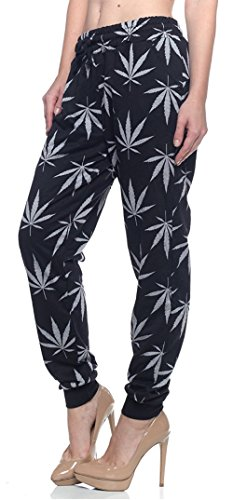 Calilogo Women's Weed Marijuana Pot Leaf Casual Jogging Pants Jacket Includes Free Gift (Large, Black/Gray Pants)