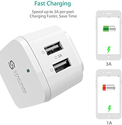Amazon.com: syncwire 2 Port USB cargador de pared, Blanco ...