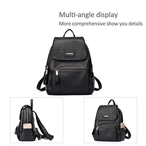 Shoulder Bag College Travel C School Leather Black Women NICOLE Backpack Outdoor amp;DORIS PU HqUgwA