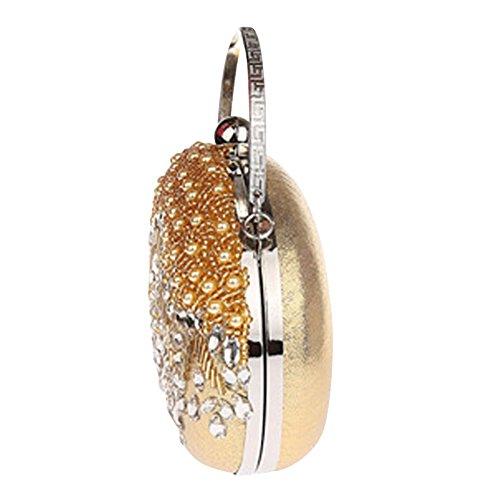 Genda 2Archer las Mujeres Elegantes Perlas de la Noche Bolso Hermoso Embragues (18 cm * 4 cm * 14 cm) Champán