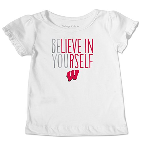NCAA Wisconsin Badgers Toddler Ruffle Tee, 2 Toddler, White
