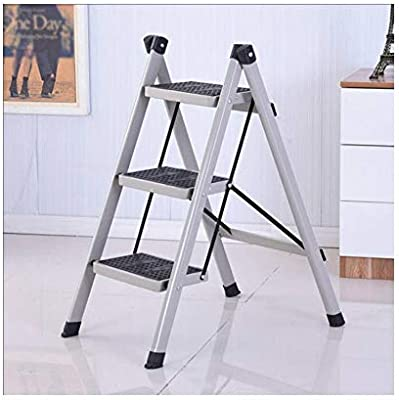 Escalera plegable casera, escalera aislada de hierro, escalera multiuso, escalera portátil unilateral. (Color : Gray): Amazon.es: Bricolaje y herramientas