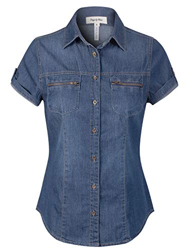 Design by Olivia Women's Roll Up Short Sleeves Zippered Chest Pocket Denim Chambray Medium Denim L