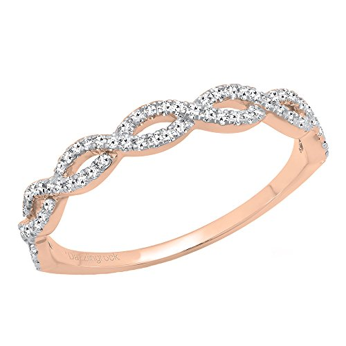 - Dazzlingrock Collection 0.20 Carat (ctw) 10K Round Diamond Ladies Swirl Anniversary Wedding Band Stackable Ring 1/5 CT, Rose Gold, Size 6.5