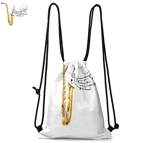 Jazz Music Decor Drawstring backpack series Illustration of Fancy Old Saxophone with Template Solo Vibes Art Print Decor Convenient choice for daily activities W17.3 x L13.4 Inch Golden Black - Jazz Series Bebop