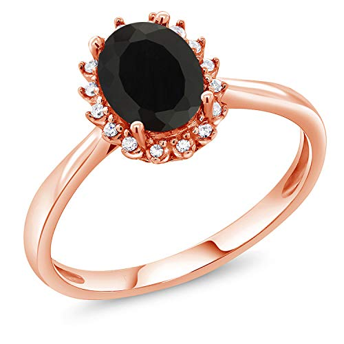 (Gem Stone King 10K Rose Gold Black Onyx and Diamond Accent Women's Engagement Ring 1.25 Ct Oval (Size 9))