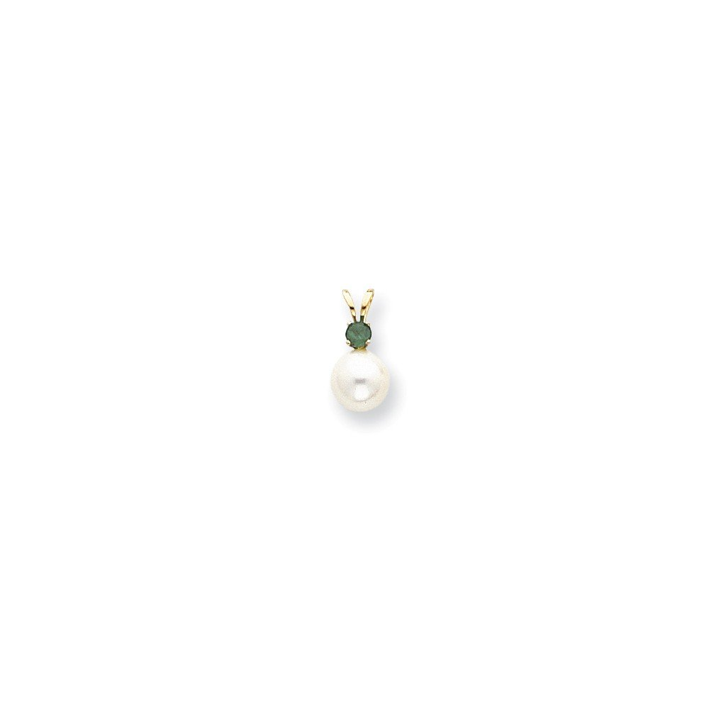 Emerald Pendant Mia Diamonds 14k Yellow Gold 7mm White FW Cultured Pearl and .11ct