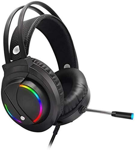 快適な 7.1カラフルなRGB発光ヘッドフォン、ラップトップ、デスクトップ用のノイズキャンセルマイク、LEDライト有線ヘッドフォン付きゲーミングヘッドセット ヘッドセット