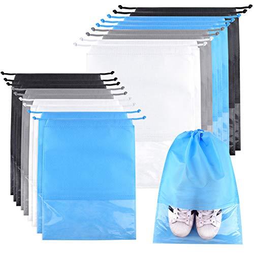 TUPARKA 18 Pieces Travel Shoe Bag, Portable Large Medium Shoe Organizer Pouch Non-Woven Dustproof Drawstring Shoes Storage Bag with Transparent Slot
