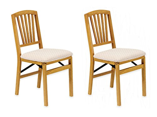 Set of 2, Solid Hardwood Folding Chair Feature Fabric Upholstered Seat Cushion in Warm Oak Wood (Oak Solid Wood Seat)