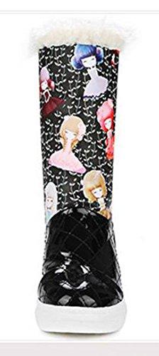 Chfso Moda Donna Impermeabile Completamente Foderato In Pelliccia Pull Su Metà Polpaccio Piattaforma Tacco Basso Stivali Da Neve Invernali Caldi Neri