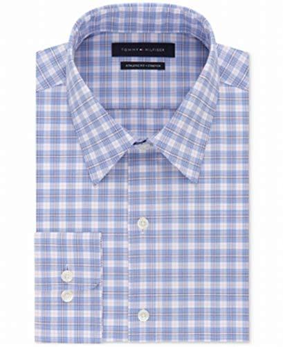 Tommy Hilfiger Mens Athletic Fit Plaid Dress Shirt Blue 16 1/2