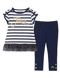Juicy Couture - Juego de 2 Leggings para niña, Navy Stripes/Navy, 3 Años