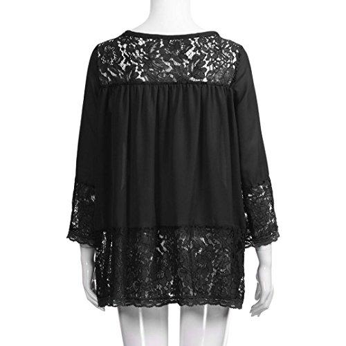 Mode Tops Dress Manches Femmes Chemise Longues Printemps Automne Cou Noir Hem Chemisier Lache Nouvelle Fit V zahuihuiM Solide Dentelle Casual TAtqwCdw