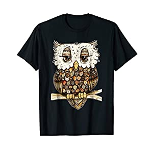 Owl Brocade Owl Shirt For Women Girls