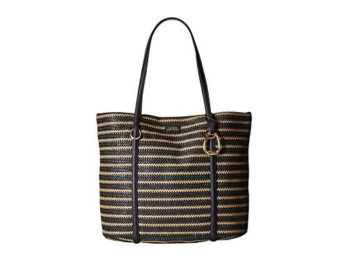Lauren Ralph Lauren Langdon Large Tote (Natural/Black Stripe) ()