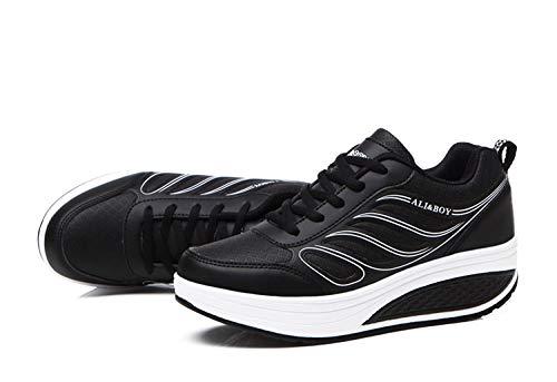 Rocker Zapatos Sole Blanco Lace Stripe color Women Qiusa Tamaño Eu Up Casuales Negro 38 qRwTEA
