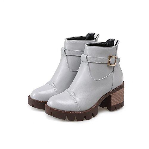 AdeeSu Womens Solid Round Toe Retro Imitated Leather Boots Gray JfmU1ZGpi