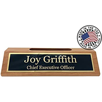 Amazon personalized business desk name plate with card holder personalized business desk name plate with card holder made in usa cherry wood colourmoves