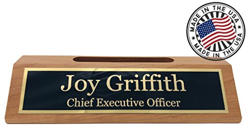 Personalized Business Desk Name Plate with Card Holder - Made in USA (Cherry Wood) Personalized Business Cards