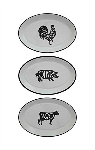 Farm Animal Design Enameled Trays - 2 Sets of 3 by Heart of America
