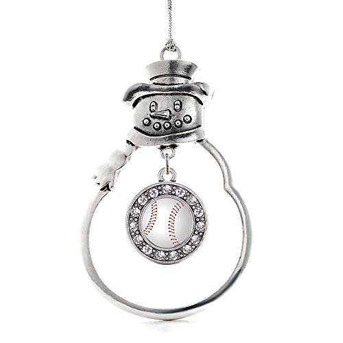 Inspired Silver - Baseball Charm Ornament - Silver Circle Charm Snowman Ornament with Cubic Zirconia Jewelry ()