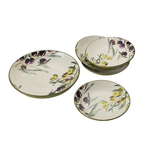 Bowls 5 Piece Salad (Mikasa 5225080 Pasta Bowl Set, Olive)