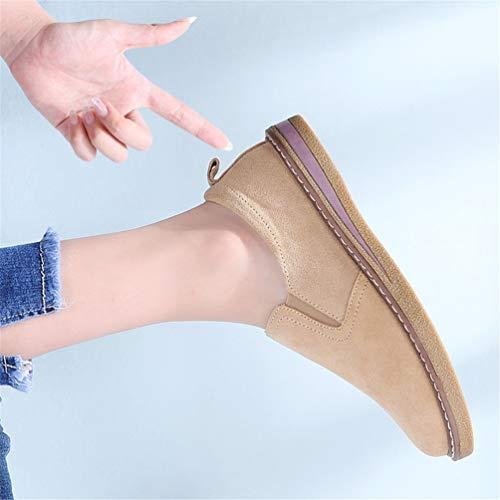 Mujeres Mocasines deslizarse de Otoño Mano Oxfords Zapatos Caqui Barco Zapatillas Hechos de Cuero Piso Zapatos Las Sobre de a Planos 5Xqxxw0