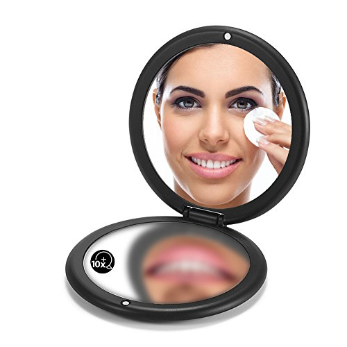 "OMIRO Folding Compact Mirror, 1X/10X Magnification 3½"" Pocket Size Round Hand Mirror for Travel Makeup (Black)"