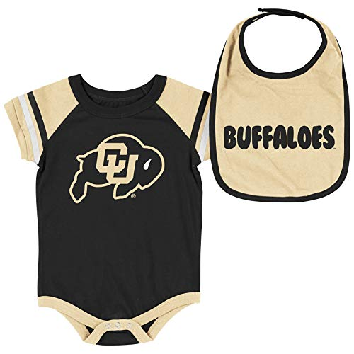 - Colosseum NCAA Baby Short Sleeve Bodysuit and Bib 2-Pack-Newborn and Infant Sizes-Colorado Buffaloes-0-3 Months