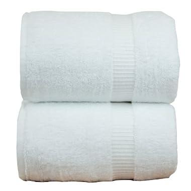Luxury Hotel & Spa Towel 100% Genuine Turkish Cotton (White, Bath Sheets - Set of 2)