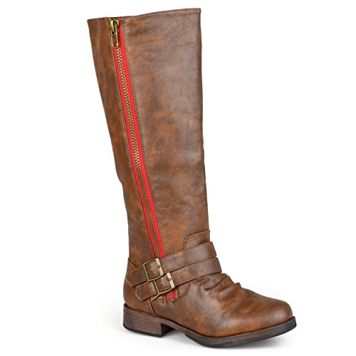 Journee Collection Womens Regular Sized and Wide-Calf Side-Zipper Buckle Knee-High Riding Boot Brown (Womens Wide Calf Boots Cheap)