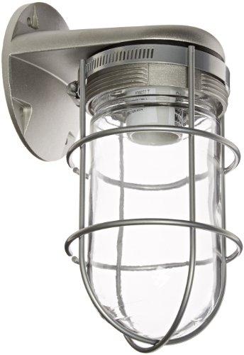 RAB Lighting VBR100G Vaporproof Glass Globe Wire Guard Incandescent Fixtures with Wall Mount Bracket, A19 Type, Aluminum, 150W Power, Natural