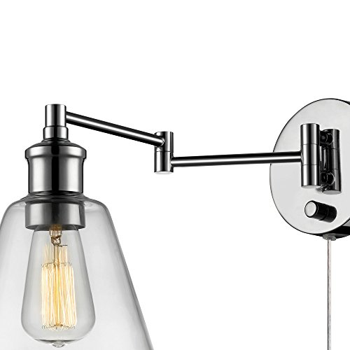 Industrial Wall Light Chrome: Globe Electric LeClair 1 Light Plug-In Or Hardwire
