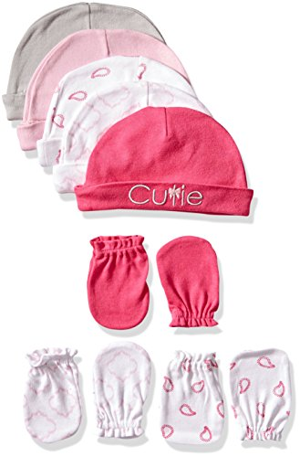 Luvable Friends 5-Pack Cap and 3-Pack Scratch Mitten Set, Pink Cutie, 0-6 Months