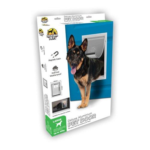Hakuna Pets Deluxe Adjustable Dog & Cat Door w/Locking Panel, Large, White -