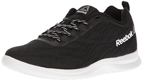 Reebok Women's Walk Ahead MT Running Shoe, Black/White/Em, 8 M US