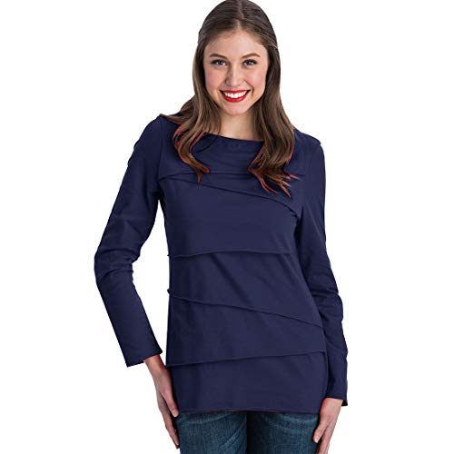 Cotton Boatneck Tunic - Neon Buddha Women's Loose Fitting Cotton T Shirt Female Long Sleeve Boatneck Top with Assymetric Layers,Navy,Medium