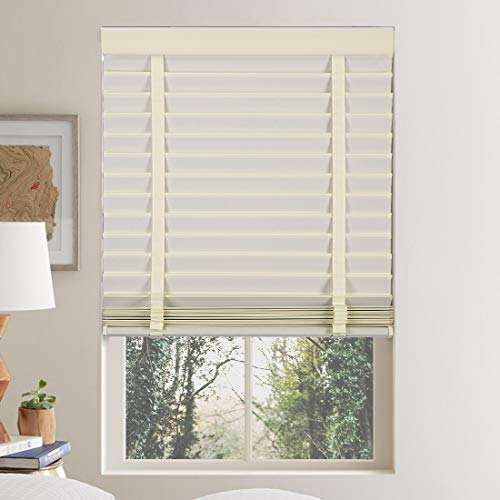 Keego 2″ Faux Wood Window Blinds Venetian Blinds Custom Cut to Size, Polyester Fabric Horizontal Blinds Light Filtering Cloth Blind with Decorative Cassette, White 66.5″ W x 64″ H