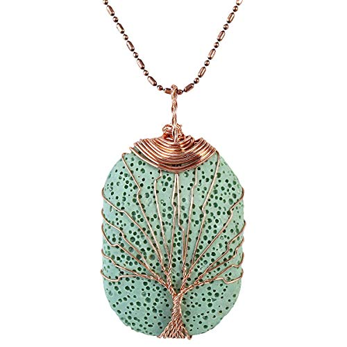TUMBEELLUWA Tree of Life Pendant Necklace, Oblong Shape Healing Crystals Jewelry for Women,Green Lava Rock
