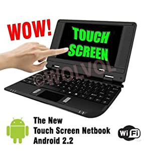 "WolVol Touch Screen Black MINI LAPTOP NETBOOK 7"" Computer Android 2.2 WiFi 3 USB Ports TONS Apps and Games 4gb HD 256mb RAM (INCLUDES: Velvet Pouch Case, Charger, Mini Optical Mouse, Touch-Pen)"