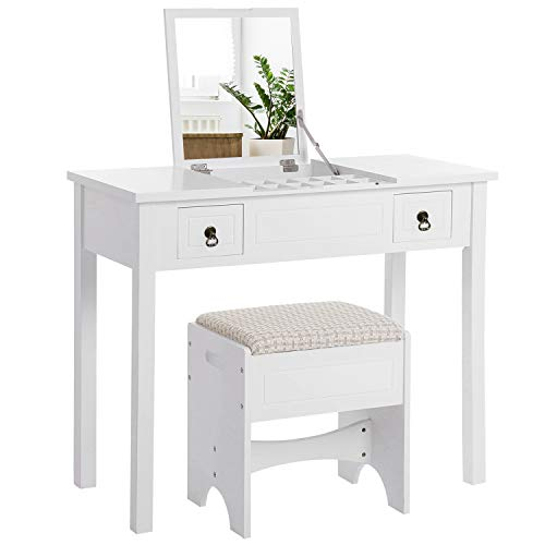VASAGLE Vanity Set with Flip Top Mirror Makeup Dressing Table Writing Desk with 2 Drawers Cushioned Stool 3 Removable Organizers Easy Assembly, White URDT01WT - Bedroom Vanity