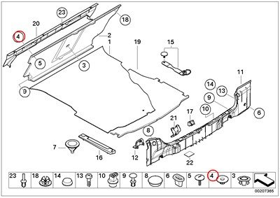BMW Genuine Lateral Trunk Floor Trim Panel Spacer Bush Black 740i 740iL 740iLP 750iL 750iLP 525i 528i 530i 540i 540iP M5 320i 323i 325i 325xi 328i 330i 330xi Z4 2.5i Z4 3.0i Z4 3.0si Z4 M3.2 Z4 3.0si Z4 M3.2