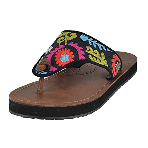 Acorn Sandals (Acorn Women's ArtWalk Leather Flip Multi Suzani Sandal 9 M)