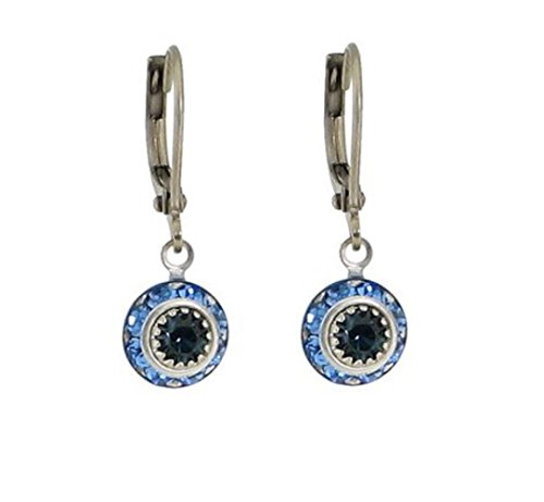 Baked Beads Earrings - Crystal Disc Dangle - Dark Blue